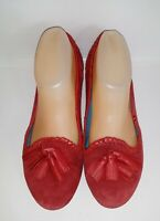 Jack Rogers Suede Red Loafers Tassels Slip On Flats Shoes Women's Size 7.5
