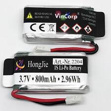 2x 3,7v 800mAh 1S Lipo RC Accu Batterie Hubsan Walkera Syma V931 X5C Quadcoptère