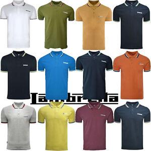 Lambretta Polo Shirt Tipped Triple Collar Mens T-Shirt Cotton SS1650 UK S-4XL