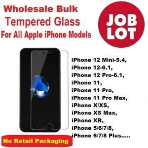 Wholesale Job Lot Bulk Tempered Glass Screen Protector for iPhone 7 8+ XR XS Max
