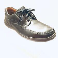 30521a6b06da1c Ecco Seawalker Mens Derby Oxford Shoe 44 Black Leather Moc Toe Rubber Sole  SB576