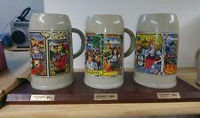 3 Vintage Lowenbrau Beer Steins Ceramic Stoneware Tankards Breweriana Man Cave