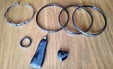 jewelry lot- bracelets bangles pendants ring 7 hematite? dark gray black metal
