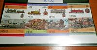"FRANCOBOLLI STAMPS NEVIS 1985 "" LOCOMOTIVES - TRAINS"" MNH** SET IMPERF. (CAT.5A)"