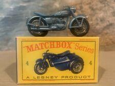 ** Matchbox Lesney No. 4 Triumph T110 Metallic Blue With Box **