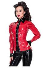 R0968 Rubber Latex Blouse Top Shirt 10UK RED/Black Westward Bound SECONDS