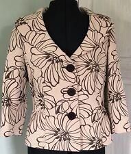 Kaliko Cream Brown Mix Floral Jacket Smart Occasion Wedding Guest Size 10