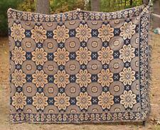 Antique American Primitive Folk Art 1844 Homespun Wool Coverlet Jacquard Blanket
