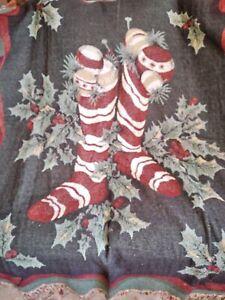 Christmas Tapestry Throw Blanket Stockings