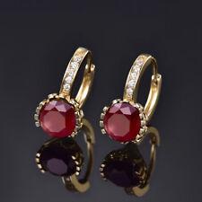 HUCHE Fashion 24K Gold Filled Garnet Red Sapphire Huggies Lady Wedding Earrings