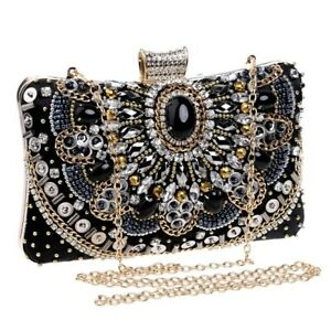 Elegant Black Small Beaded Clutch Purse Bag Wedding Sequin Cocktail Party Clutch