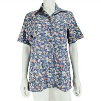 Country Collections UK 12 Navy Floral Short Sleeve Top Shirt 100% Cotton