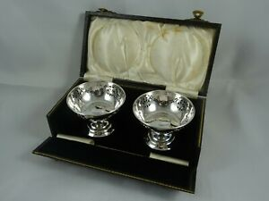 BOXED pair, solid silver NUT DISHES, 1937