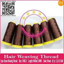 SALON PROFESSIONAL Super Length Remy Human Hair Extension Weaving Thread-BROWN