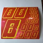 PINK CHROME w/Yellow  #8's Decal Sticker Sheet DEFECTS  1/8-1/10-1/12 RC Mo BoxD