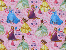 DISNEY PRINCESS LISTEN TO YOUR HEART  BELLE TIANA CINDERELLA RAPUNZEL  YARDAGE