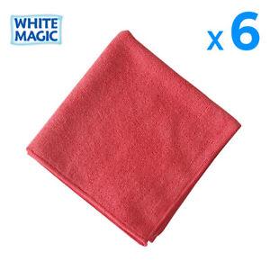 6X White Magic Microfibre Cloths RED Toilet Bathroom Cleaning Towel 40x40cm