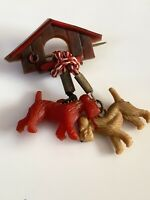 Lovely Vintage 1950s Two Dogs And Kennel Brooch 1950s