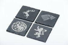 Game of Thrones inspired Natural Slate Drinks Coasters Set Of 4