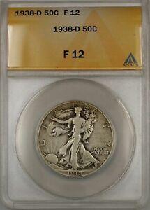 1938-D Walking Liberty Half Dollar Coin 50C ANACS F 12 C
