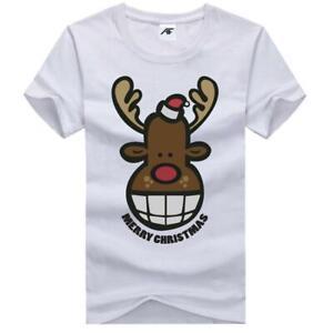 Boys Running Deer Christmas Festive Xmas Printed TShirt Mens Gift 100%Cotton Top