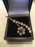 VINTAGE GOLD TONE Amethyst & Clear Coloured RHINESTONE BROOCH