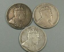3 Silver Fifty 50¢ Cent coins. 1904-H (2), 1909.  NEWFOUNDLAND Canada.