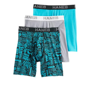 Mens Hanes Ultimate ComfortFlex Fit 3-Pack Boxer Briefs-Multi colors Black print