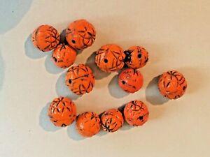 Antique Orange Pressed Glass Beads Neiger 1920s