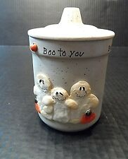 Crazy Mountain Candle Jar Covered Halloween Boo to You Trinket Holiday Candy