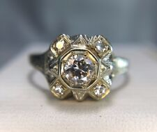 Antique 1950s 14k White Gold Round Diamond Engagement Ring 1/3 ct