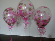 10pc Pink Gold clear Confetti latex helium Balloons Birthday Wedding USA seller