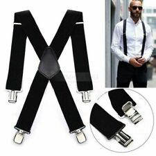 5cm Mens Suspenders X Style & 4 Clips Adjustable Fits All Heavy Duty Braces