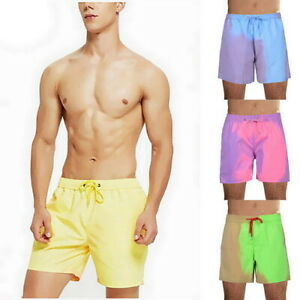 Men Color Changing Swim Trunks Beach Swimsuit Swimming Shorts Bath Shorts NEW
