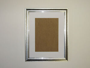 Two Tone Silver 8x10 Picture Photo Frame  Mount 5.5x7.5 Hang.