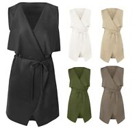 New Womens Ladies Celebrity Sleeveless Waterfall Cape Cardigan Jacket Coat Top