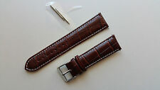 22mm Brown Mens Genuine Leather Watch Strap Band Croco S Steel Buckle Spring Bar