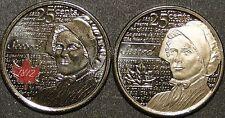 BU UNC Canada 2013 Laura Secord 25 cent quarter red color & no color 2 coins set