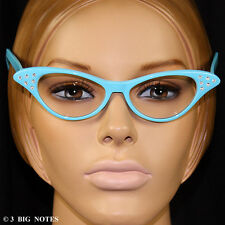 Aqua Blue 50s Retro Cat-Eye Glasses with Rhinestone for Poodle Skirt