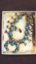 Vintage Navajo TURQUOISE Squash Blossom Necklace & Earrings Set STERLING SILVER