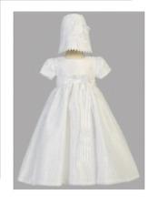 Blanco Vestido De Bautizo Con Flor hermosa superposición de encaje Talla 3 - 6 meses