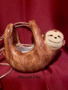 Hanging Brown Monkey Ceramic Planter Pot