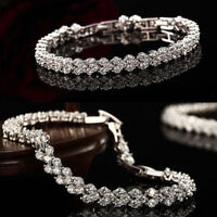 Cubic Heart Round Zirconia Crystal Tennis Bracelet Bridesmaid Diamante Jewelry