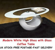 Modern White High Gloss Glass Coffee Table Oval Living Room Home Furniture Gifts