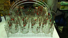 Mid Century RETRO Drinking (8) Glasses Roses with Picket Fence style Holder