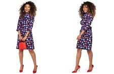 Blue Macaroon Print Long Sleeve Midi Dress in UK 8 FREE POSTAGE
