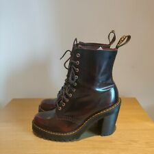 Dr Martens KENDRA Leather Heeled Ankle Boots Cherry Red Arcadia UK 6 - Excellent