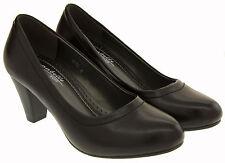 Womens Mid Heel Black Court Shoes Ladies Smart Work Heels Sz Size 5 6 7 8