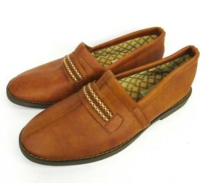 Vintage 80s Kinsman Mens Slip-On House Shoes Slippers Size 8 Tan Loafers Vinyl