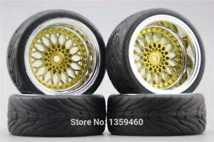 4x 1/10 BBS BMW Gold RC Soft Rubber On Road Wheel Tyre Tire 3mm 6mm 9mm Offset